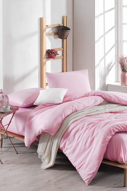 100% Natural Cotton Double Duvet Cover Set Solid Color Pink Yt149 Ep-020554