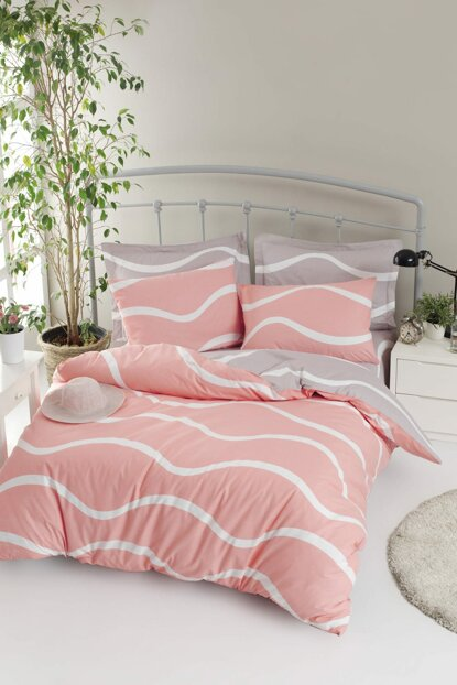 100% Natural Cotton Double Duvet Cover Set Novia Pink Ep-019322