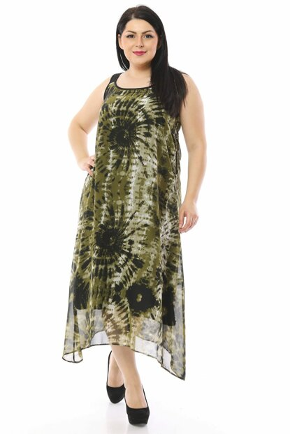 Women Khaki Lined Tie Dye Pattern Chiffon Dress P14482
