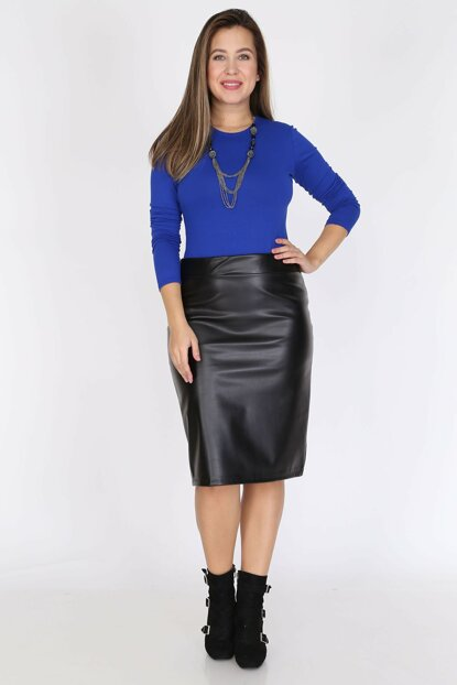 Women Black Faux Leather Skirt 23E-0794