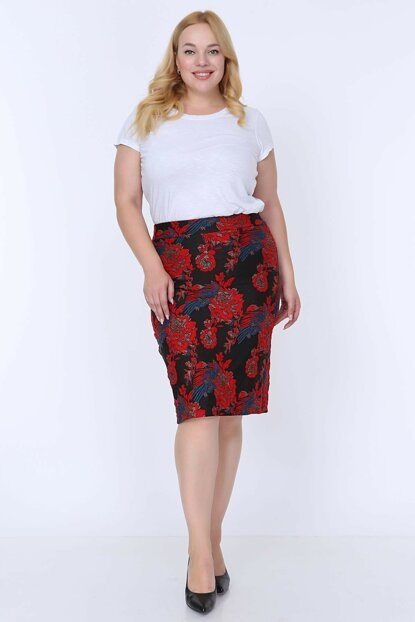Women's Black Patterned Plus Size Skirt 20A-0799