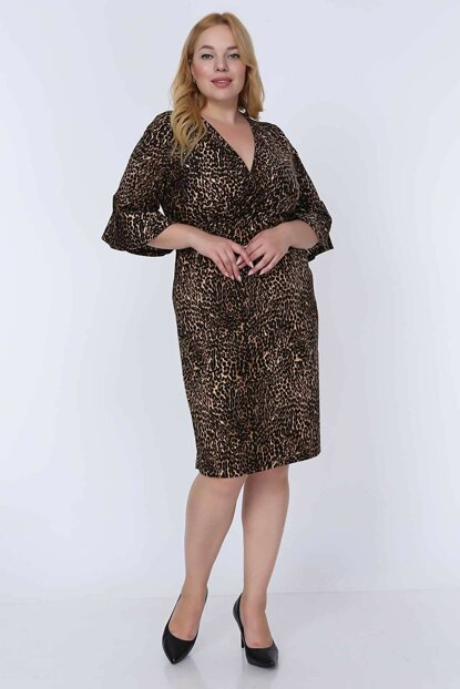 Women's Brown Leopard Printed Dress 6D-0777