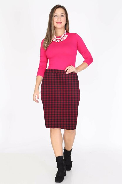 Women's Burgundy Patterned Flexible Skirt 3D-0798