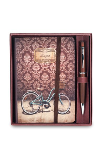 62 Chic coffee lacquer finish pen and Retro Bicycle lined A6, hard plastering cover notebook clk6598