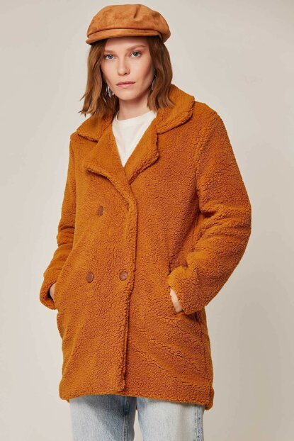Women's Camel Plush Lamb Jacket 10419 Y19W126-10419