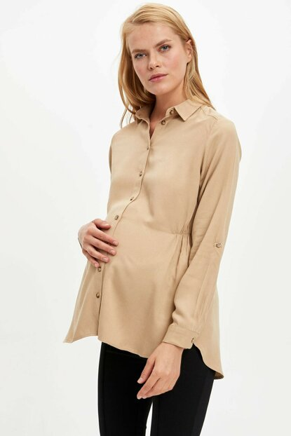 Women's Beige Relax Fit Long Sleeve Maternity Shirt M3015AZ.19WN.BG261