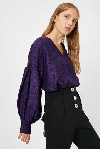 Women's Purple Snake Skin Print Blouse 0KAK68291PW