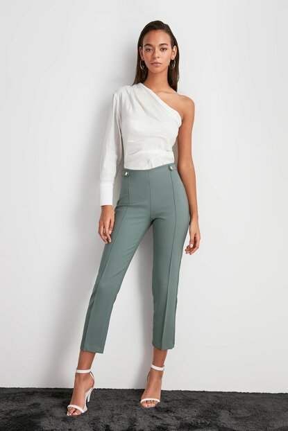 Green Studs Detailed Pants TWOAW20PL0598