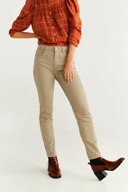 Women's Beige Straight Cut Cotton Pants 57065936