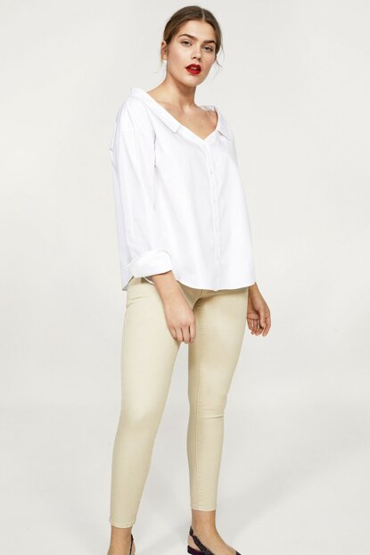 Women's Beige Trousers 23063649