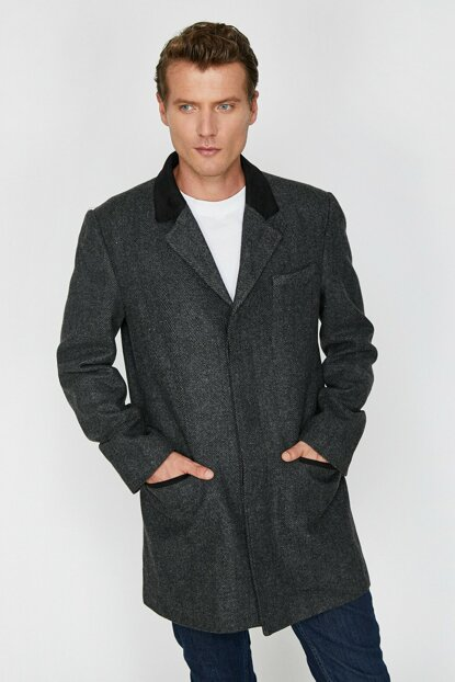 Men's Gray Pocket Detailed Coat 0KAM01216HW