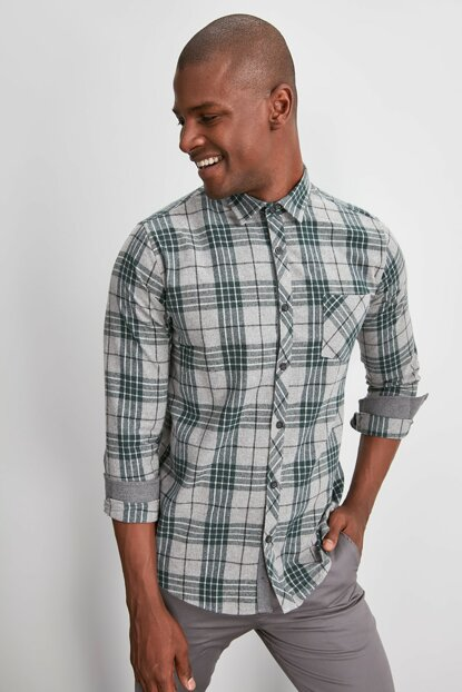 Green Men's Plaid Single Pocket Slim Fit Shirt TMNAW20GO0552