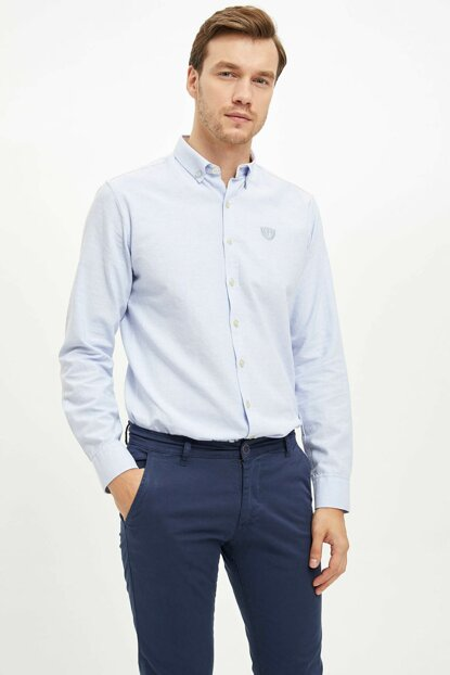 Men's Blue Modern Fit Shirt L0673AZ.19AU.BE196