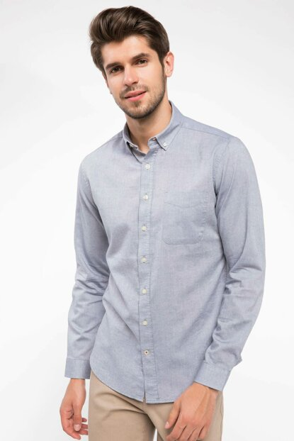 Men's Gray Single Pocket Modern Fit Long Sleeve Shirt I9730AZ.18AU.GR42