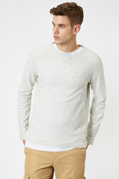 Men's Gray Crew Neck Pullover 0YAM91000OK