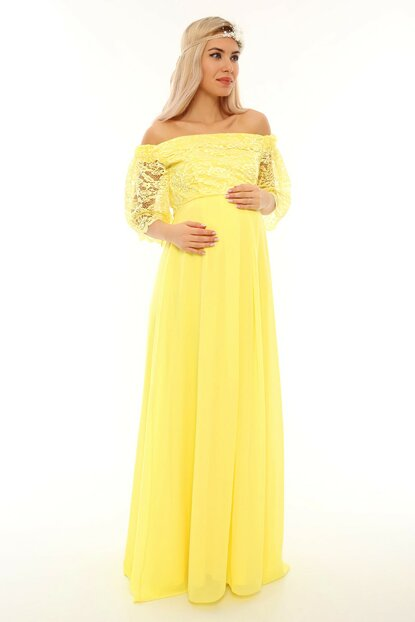 Low Shoulder Lace Maternity Dress Yellow ML010500X