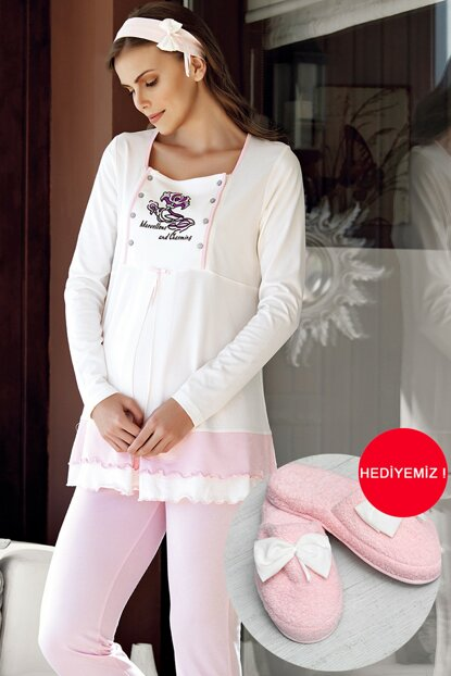 Women's Pink Lohusa Pajama Set With 3 Pieces MBP23727-1 MBP23727-1