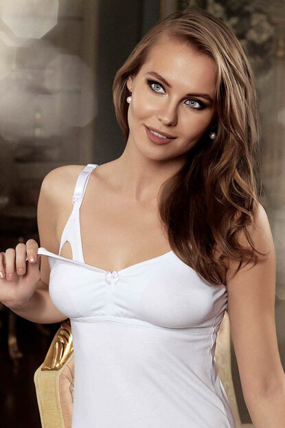 Women's White Breastfeeding Singlet M894-By M894-BY