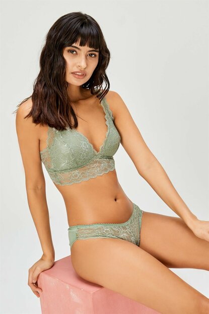 Women's Khaki Lacy Unfilled Bralet Bra Set 301 3514