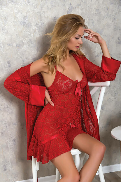 Women's Red Ruched Rope Short Nightgown Dressing Gown Set 9511 MLB9511