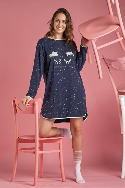 Women Navy Blue Long Sleeve Nightgown 11433