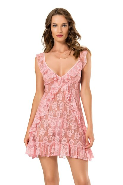 Women Lace Ruffle Detail Pattern Thick Strap Short Nightgown String Suit MLB9197