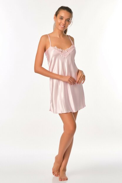 Women's Pink Satin Nightgown Ah16Stk00003 AH16STK00003