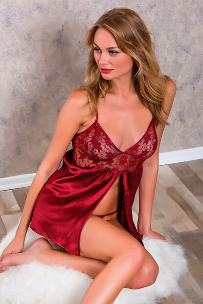 Women's Burgundy Satin Front Slit Ruched Short Nightgown String Suit 9040 MLB9040