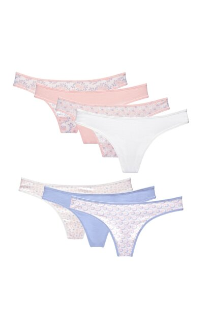 Women Mixcolor Thong 7'i Pack Panties 98913