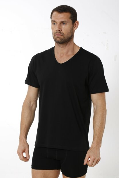 Men's Black 3Jersey V Neck Undershirt 11342_002_L
