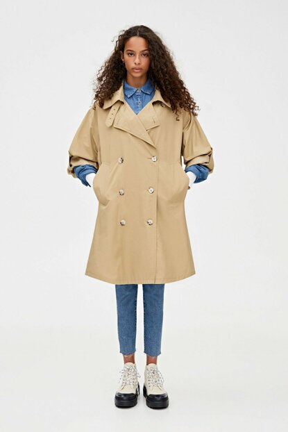 Women's Mid camel Slit, contrast button oversize trench coat 09750304