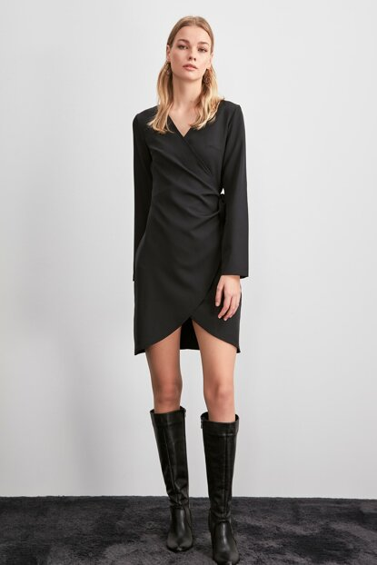 Black Double Breasted Collar Dress TWOAW20EL1884