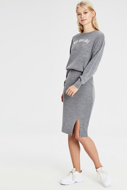 Women's Dark Gray Melange Skirt 9WP322Z8