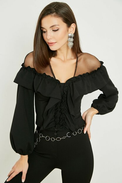 Shoulder Tulle Fly Blouse - Black 20KBL714K112
