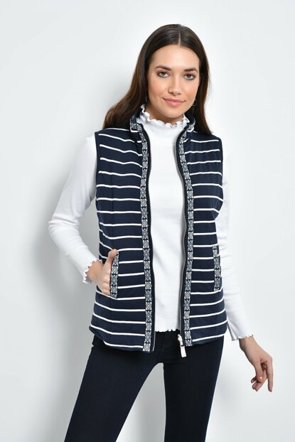 Women's Navy Blue White Striped Stripe Detailed Striped Sleeveless Vest HN2166