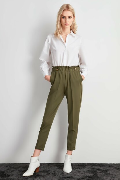 Khaki Rubber Detailed Pants TWOAW20PL0451