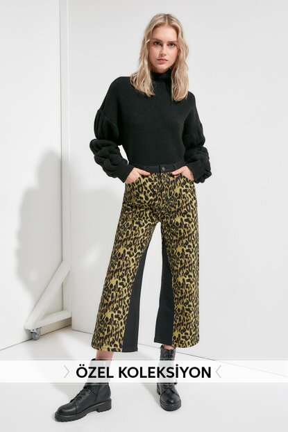 Black Leopard Patterned High Waist Wide Leg Jeans TWOAW20JE0361