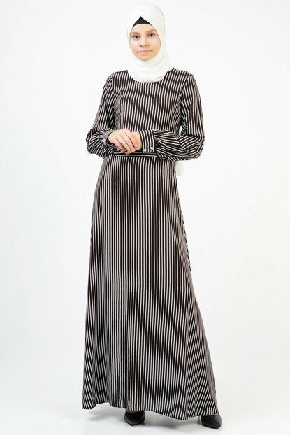 Women's Black Buttoned Sleeve Detailed Long Dress 3678/145