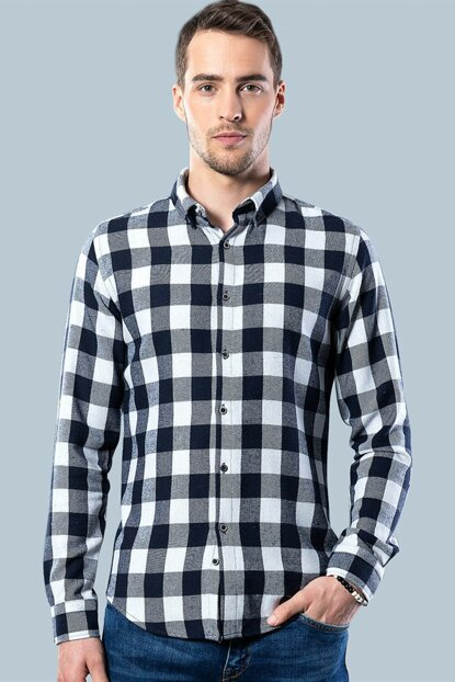 Slim Fit Checkered Winter Shirt DR200003-621