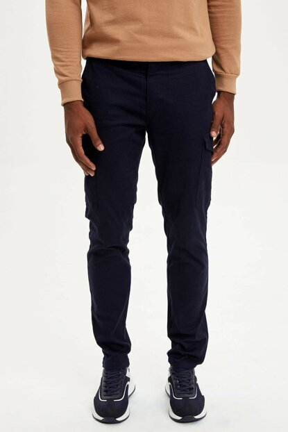 Men's Navy Blue Slim Fit Cargo Pants M5317AZ.19WN.NV128