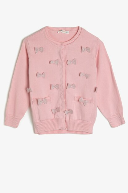 Pink Girl's Pocket Detail Cardigan 9YKG97805HT