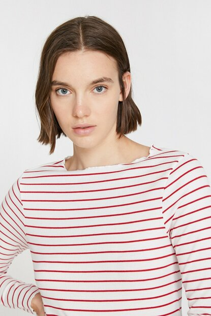 Women's White Striped T-Shirt 0KAK13519OK