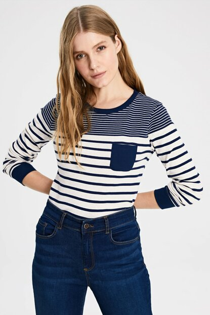 Women Navy Striped T-shirt 9W9606Z8