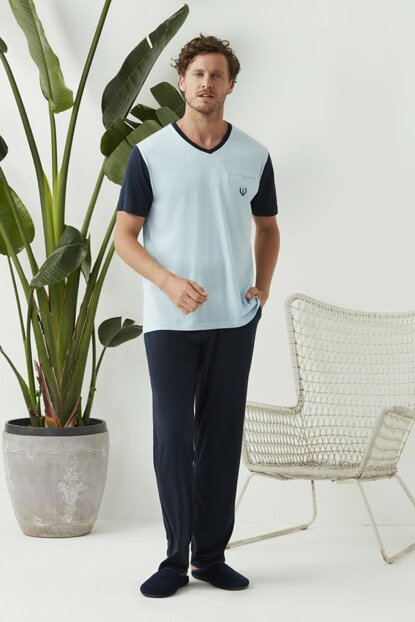 Men's Light Blue V-Neck 3-Piece Pajamas Set ESE0219Y0024
