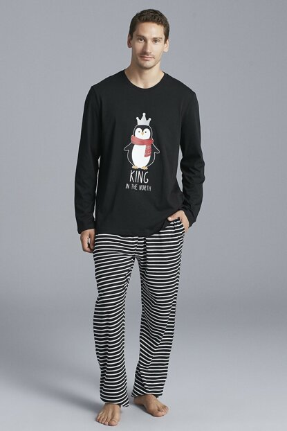 Men's Black Penguin Pajamas Set PNTZWWGN19SK-SYH