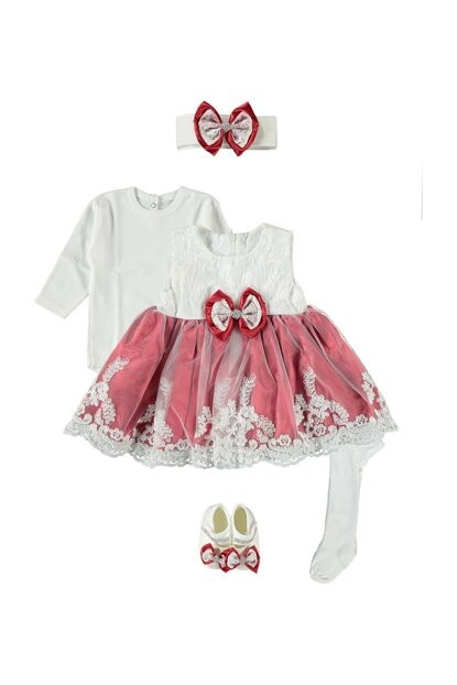 Baby Girl 5 Piece Dress Seasonality Suit, Wedding, Henna Gown Red 0-6 Months PK331