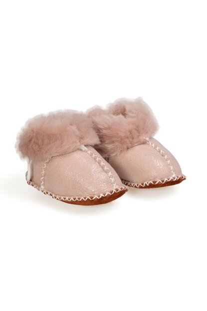 Powder Genuine Fur Lace Baby Booties 141105