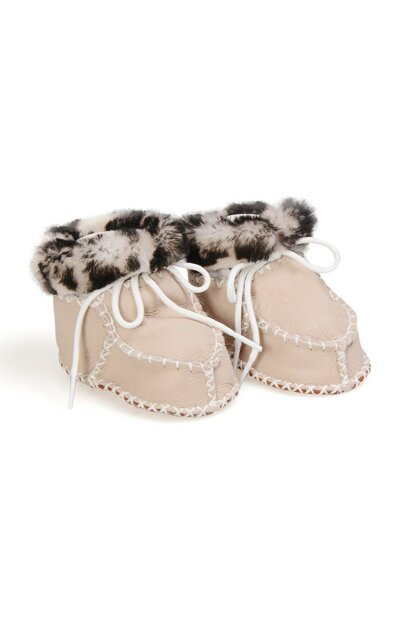 Gray Genuine Fur Patterned Baby Shoes 141108