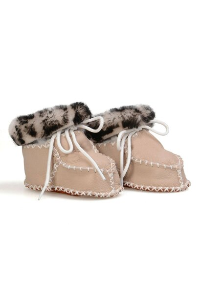 Beige Genuine Fur Patterned Baby Shoes 141108