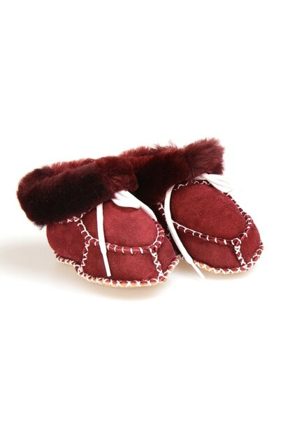 Burgundy Genuine Fur Lace Baby Shoes 141106